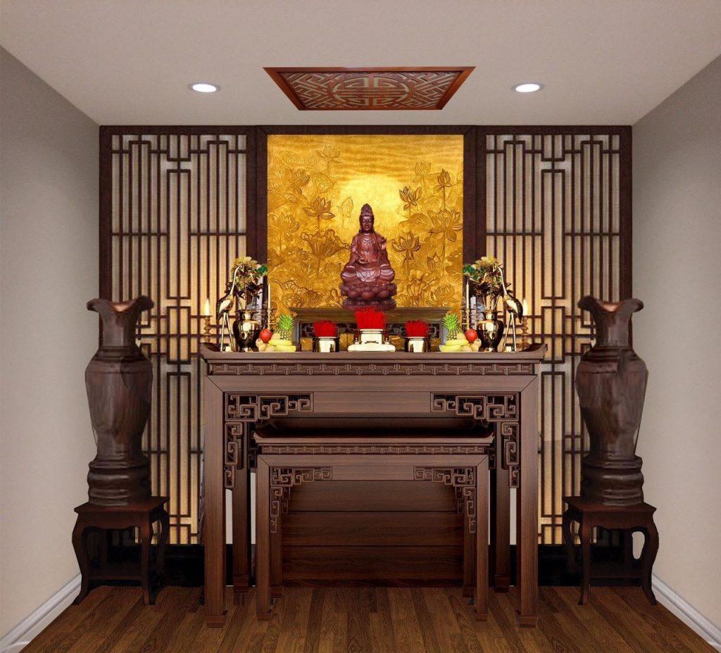 Khi thiết kế phòng thờ Phật cần chọn một vị trí đặt bàn thờ Phật phù hợp