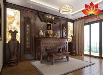 Nội thất phòng thờ bằng gỗ gụ cao cấp