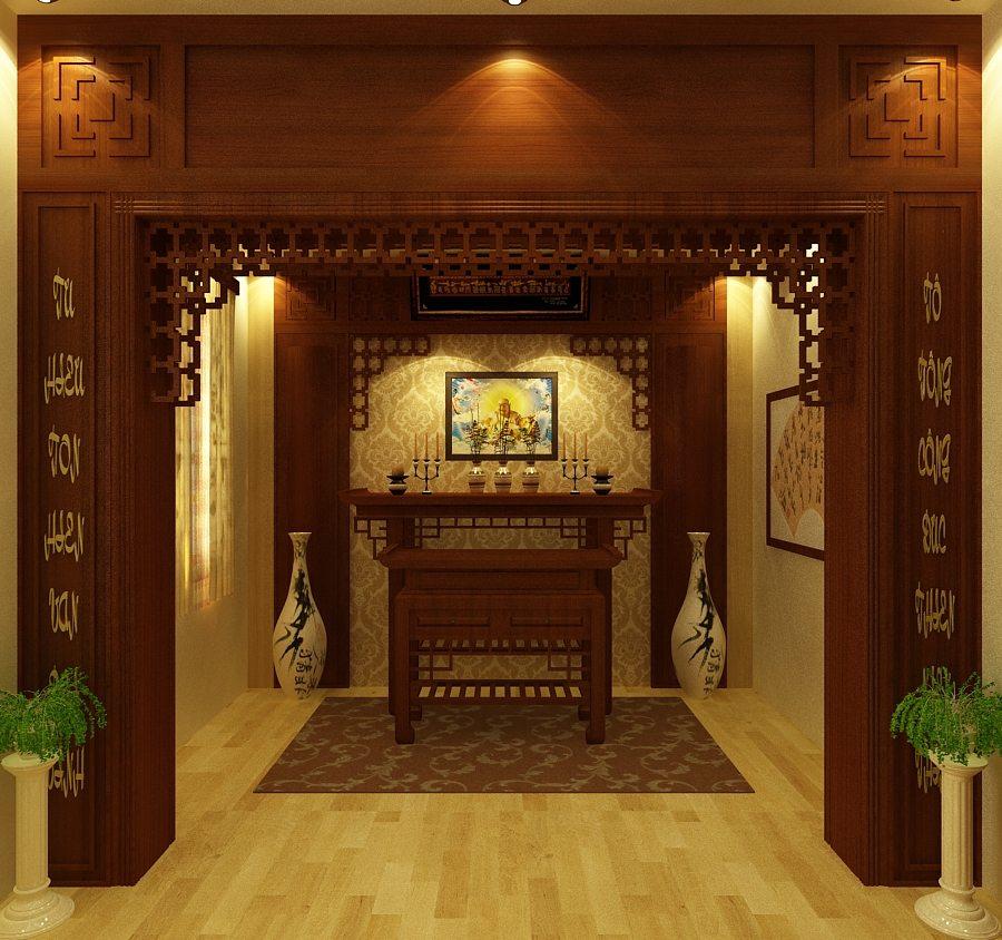 Mẫu trần phòng thờ làm bằng gỗ