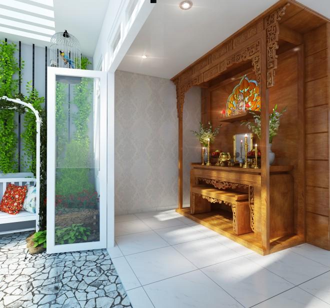 Các mẫu thiết kế phòng thờ trong phòng khách đẹp và Chuẩn phong thủy