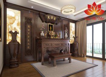 Thiết kế bàn thờ bằng chất liệu gỗ gụ mang đậm chất Á Đông
