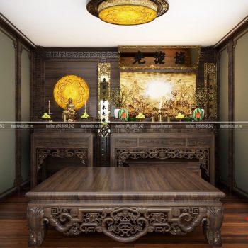 Mẫu trần phòng thờ được làm bằng thạch cao