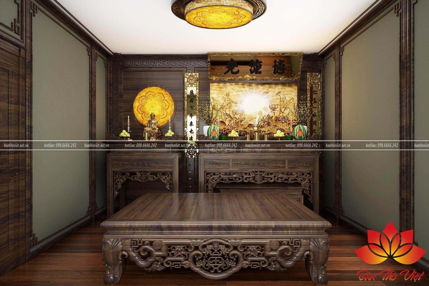 Tranh phong thủy phòng thờ dưới đèn phòng thờ có màu sắc và phong cách cổ điển