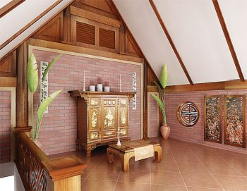 Không gian phòng thờ gác mái đẹp