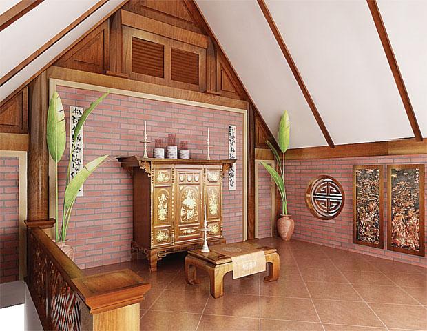 Mẫu phòng thờ áp mái hiện đại cho không gian thờ cúng trang nghiêm