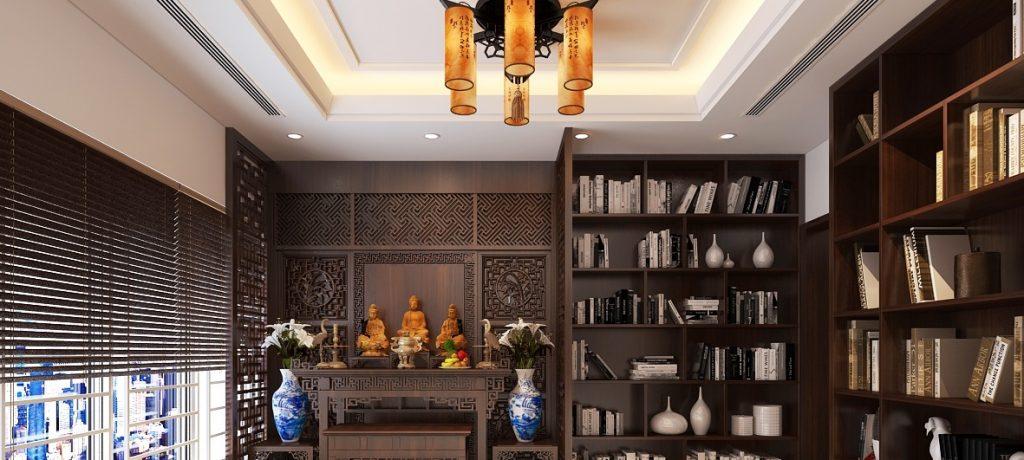 Một số mẫu thiết kế phòng thờ kết hợp phòng đọc sách đẹp