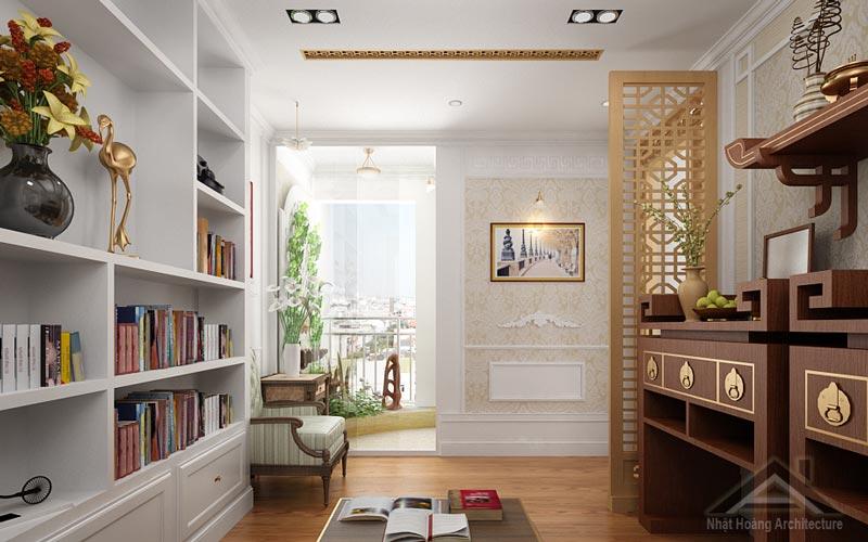 Mẫu thiết kế phòng thờ kết hợp phòng đọc sách đẹp hiện đại