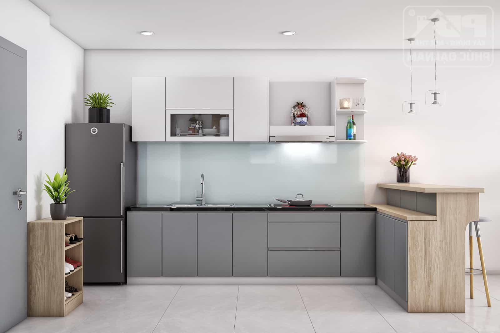 Bàn thờ ông Táo đặt trên kệ tủ bếp giúp tiết kiệm không gian tối đa lại sạch sẽ, hiện đại